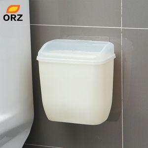 ORZ Storage Box Waste Can Wall Mount Bins With Cover Creative Wall Magic Sticker Bathroom Kitchen Toilet Waste Bins Plastic Box Z1123