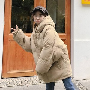 2020 New Korean-Style Loose Quilted Cotton Cloth Women's Down Coat Long Padded Jacket Womens Winter Clothing