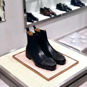 Moda luxu zapatos para hombre para botas redbottom Mid Design Toble Tacones bajos Cuero genuino Suede con remaches Melon Spikes Plano Caballero corto Boot