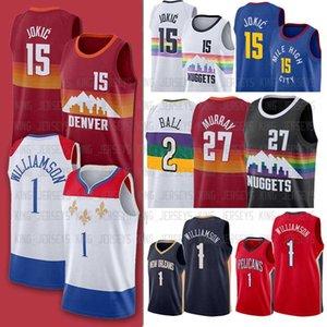 15 Nikola Jamal Jokic Murray Yeni Erkekler OrleansPelikan1 denverkızarmış tavukJersey Zion Lonzo Williamson Ball Basketbol Formaları