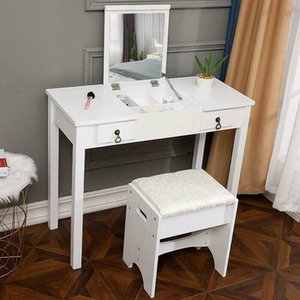 Vanity Makeup Dressing Table Set 2 Drawers w Stool & Flip-top Mirror White