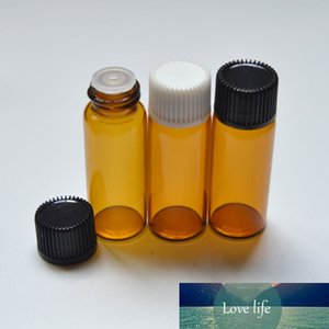 5CC Mini Amber Glass Bottle With Orifice Reducer And Plastic Cap Small Essential Oil 5ml Vials