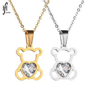 Charm Hollow Cubic Zircon Bear Chain Necklaces for Women Gold Silver Color Animal Pendant Necklace Jewelry Gift