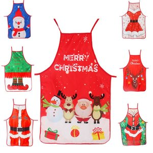 Adult Christmas Apron Santa Lady Printed Cartoon Cute Cooking Apron Christmas Decoration Props For Kitchen Tools Xmas Gift DWC4017