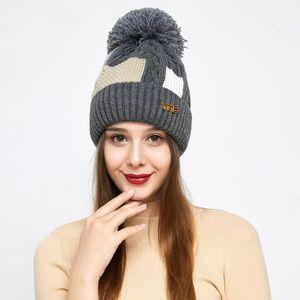 Girl Women Winter Wool Beanie Cap Pom Pom Parent-child Knitted Hat Core Yarn Warm Casual Skullies Beanies Bones