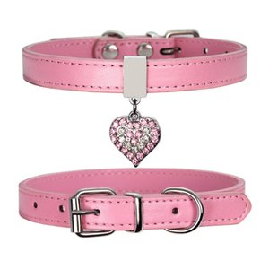 Pet Dog Collar With Diamond Heart Bell Fashion PU Leather Pet Dog Cat Collars Small Dog Neck Adjustable Strap RRA2711