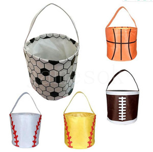 Basketball Easter Basket Sport Canvas Totes Football Baseball Soccer Softball Buckets Storage Bag Kids Candy Handbag DB420
