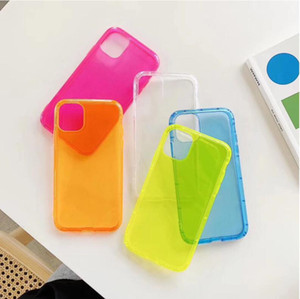 100 stücke einfache fluoreszierende farbe material einfach transparent handy case anti-fall luftdruck passend iphone 12pro max sanfthülle