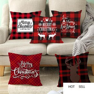 45*45cm Christmas Snowflake Pillowcase New Year Decor Santa Cushion Covers Home Sofa Pillow Case Xmas Pillow Cover Party Supplies