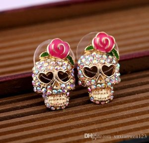 New Arrivals Fashion Roses Skull Head Brincos Oorbellen Colored Crystal Stud Earrings Women Jewelry for gift