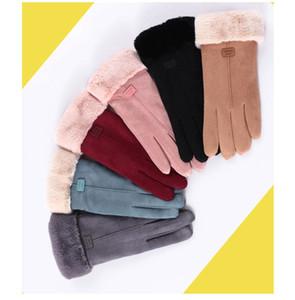 Модный экран сенсорные зимние перчатки милый теплый утолщение бархатного сенсорного экрана перчатки женщины мужские теплые роскошные перчатки зимой 54 стилей DDE3232