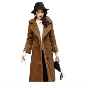 Winter Long Suede Jacket Women Double Breasted Lamb Wool Windbreaker Elegant Slim Fashion Jacket Coat Abrigos Mujer Q492