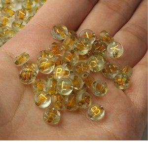 4x7mm Starry Sky letra acrílico perlas de acrílico alfabeto plano Reduce los cuentas espaciadores sueltos para la joyería haciendo una pulsera de bricolaje a mano JllexQ