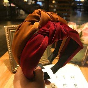 Haimeikang cores sólidas banda de cabelo knotted para mulheres headbands hairbands headwear nova chegada