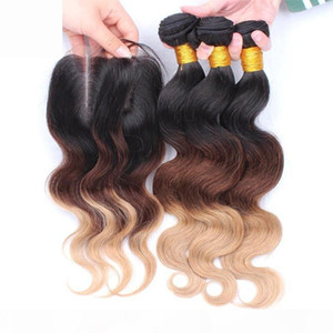 Brazilian Ombre Human Hair 3Bundles With Lace Closure 4x4 Body Wave 1B 4 27 Honey Blonde Ombre Brazilian Virgin Hair Weaves With Closure