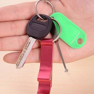 Multicolors probable metal aluminum alloy keychain opener keychain ring beer beverage can bottle opener tool DHE3123