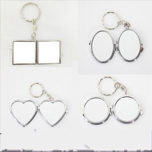 Sublimação Chave Buckle Espelhos DIY Mini 2 Rosto Cabeceiros Cosméticos Coração Em forma de Menina Portátil Compact Presite Requintado 3 2HF M2