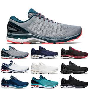gel asics GEL-KAYANO 27 zapatos para hombre mujeres entrenador Triple Negro Blanco Azul Mako chaquetón TECHNO CYAN hombres de la moda zapatillas de deporte al aire libre 36-45