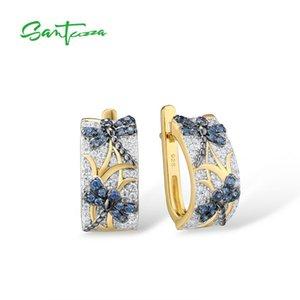 SANTUZZA Silver Earrings For Women Pure 925 Sterling Silver Blue Dragonfly Elegant Trendy Gift Party Fine Jewelry LJ201014