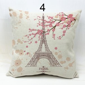 45 *45cm Modern Design Eiffel Tower And Flowers Paris Throw Pillow Case Sofa Seat Cheap Cushion Covers Fashion Cojines