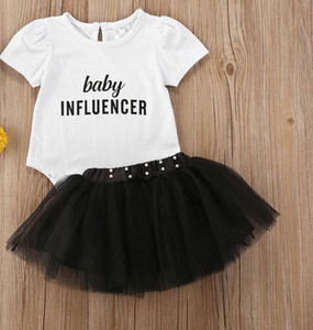 Fashion Newborn Infant Baby Girls Clothes Sets 2pcs Letter Print White Short Sleeve Romper Tops + Pearl Lace Tutu Skirts