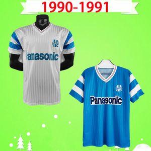 Maillot de Foot 1990 1991 Olympique de Marseille Ретро Футбол футбол 90 91 Papin Boli Waddle Pele STOJKOVIC Винтажная классическая футбольная футболка