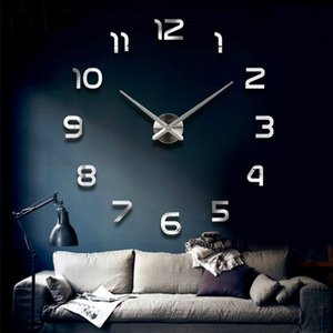 Fashion 3D big size wall clock mirror sticker DIY brief living room decor meetting room wall clock Y1121