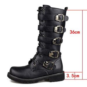 Men's Leather Motorcycle Mid-Calf Military Combat Gothic Belt Skull Punk Men Shoes Tactical Army Boots Warm46