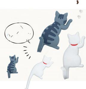Cartoon Magnetic Refrigerator Magnet Household Gadgets Cute Cat Shaped No Trace Sticking Hook Keys Hooks Hot Sale High Quality 4hb J2