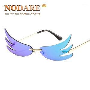 Nodare 2020 Hot Tendedor Gafas de sol Mujer Aleación Onda Sin Ropa Gafas Sun Party Gold Lens Masculino1