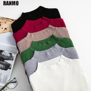 Ranmo Soft Turtlenck Punto Suéteres Mujeres Jerseys Otoño Oficina de Invierno Slim Casual Suéteres Jersey Coreano Mujer Barato Tops Q1217
