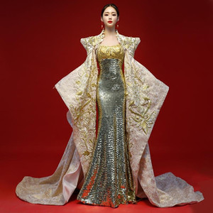 Luxury Guipure Embroidery Cheongsam Dress Elegant Cloak Chinese Tradition Evening Dresses With Shawl Woman Qipao Oriental Suits