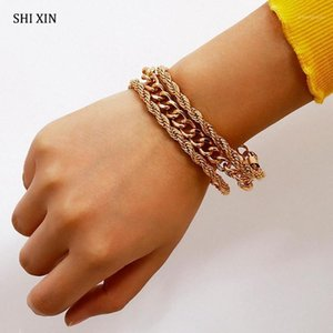 Shixin Hiphop Twist Chain Braceletes para Mulheres Trendy Gold Color Bracelete Femme 2020 Charme Pulseira Pulseira Set Hand Chain Jóias1