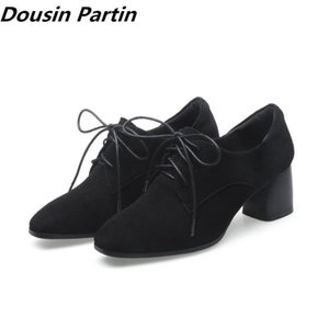 Dousin Partin Black pointed toe high heels autumn boots lace up gladiator women shoes suede shoes for women