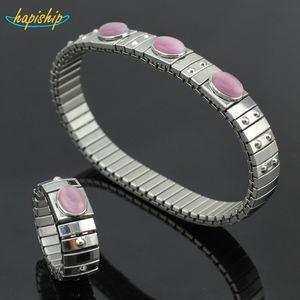 Hapiship 1 Set Women's Jewelry 9mm Width Stainless Steel Opals Elastic Fashion Bracelet Ring Size 7 For Women Men MY03 201006