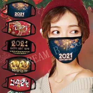2021 Máscaras de año nuevo Feliz Año Nuevo Feliz Navidad Mascarilla Moda Moda transpirable Impresión reutilizable Máscaras de algodón Celebre suministros de año nuevo Mascarilla de fiesta