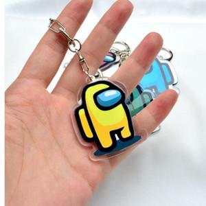 5 Styles Hot Games Among Us Keychain Acrylic Colourful Keyrings Cartoon Game Key Holder Keychains Car Keys Bag Pendent Decoration
