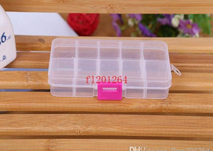 FedEx DHL Envío gratuito Ajustable 10 compartimento Caja de almacenamiento transparente de plástico para la herramienta de pendiente de joyería cont JLLLQOW MX_HOME
