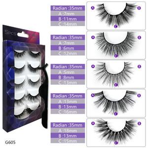 Super Hot Sale Wholesale Mix G605 3D Full Strip Eyelashes Criss Cross Natural False Eye Lashes with box