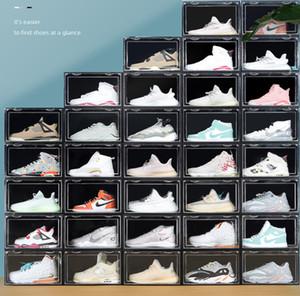 تصميم المغناطيس حجم كبير شفاف البلاستيك مربع الأحذية AJ حذاء الغبار حذاء تخزين مربع فليب الحذاء صناديق تكويم الأحذية المنظم مربع