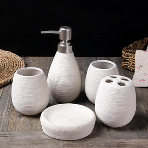 European ceramic bathroom five-piece washroom supplies Creative hand-drawing wash cup suit YHJ010205