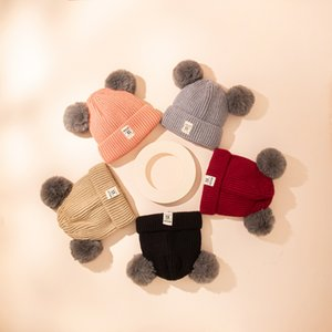 New Kids CC Hats Fur Poms Beanie Winter Label Cable Slouchy Skull Caps Fashion Leisure Kids Hats