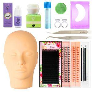 QSTY Professional Training False Eyelashes Extension Set Grafting Eye Lashes Practice Eye Pads Tweezers Glue Ring Brush Kits