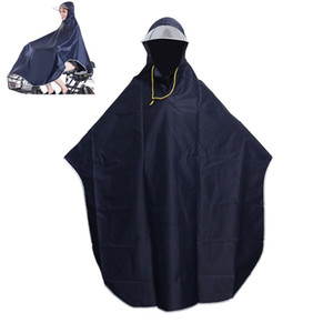 Raincoat Mens Womens Cycling Bicycle Cape Bike Poncho Hooded Windproof Rain Coat Mobility Scooter Cover (Navy Blue) XH4RSZ