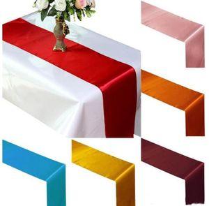 Tabela de pano de cor de cor sólida corredor de mesa de mesa de toalha de pano de pano decoração corredores decorações de festa para mesas 30 * 275cm DHB3810