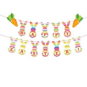 1pc Partie de Pâques Bunny Bunny Drapeau Drapeau Holiday Holiday Thème de décoration Bannière Tirez sur Fleur Dessin animé Bunting