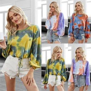 Women Tops Designer Clothes Tie-dye Round Neck Raglan Sleeve T-shirt Pullover Ladies Autumn Winter Fashion Sweatershirt 3 Color CZ112502