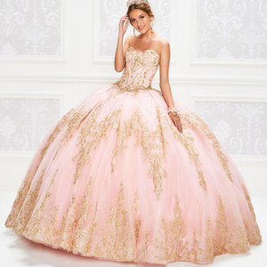 Light Pink Ball Gown Quinceanera Dresses Gold Lace Appliques Bodice Corset Sequins Prom Dress Sweetheart Gorgeous Sweet 15 Gowns Lace-up