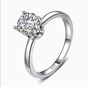 Sterling Silver Ring Trendy Wedding Rings for Women Round Female Bague Sterling Silver Jewelry 0241