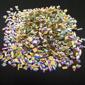 جودة عالية 1 pcscrystals ab مسمار الراين شقة الذهب أسفل قطرة المطر المعين الحجارة الزجاج للأظافر ديكورات الفن